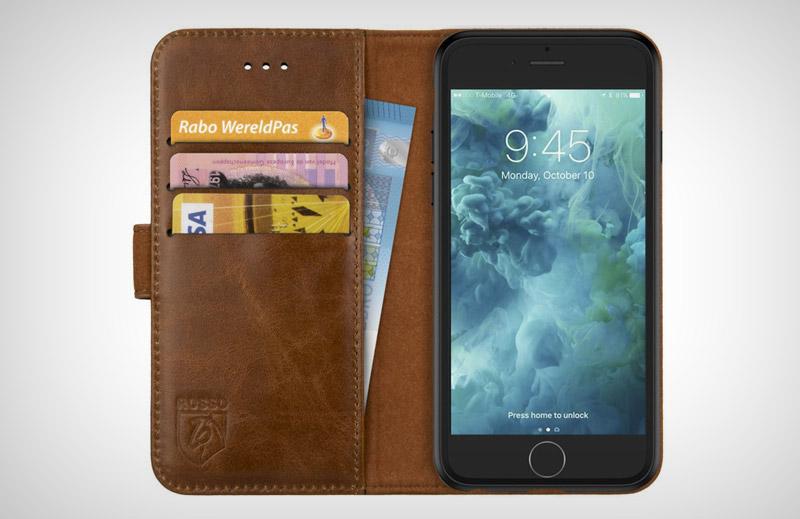 Rosso Apple iPhone 8 Hoesje Echt Leer Pasjes Book Case