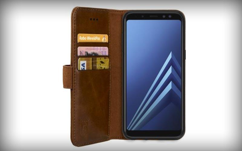 Rosso Deluxe Samsung Galaxy A8 2018 Hoesje Echt Leer Book Case Bruin