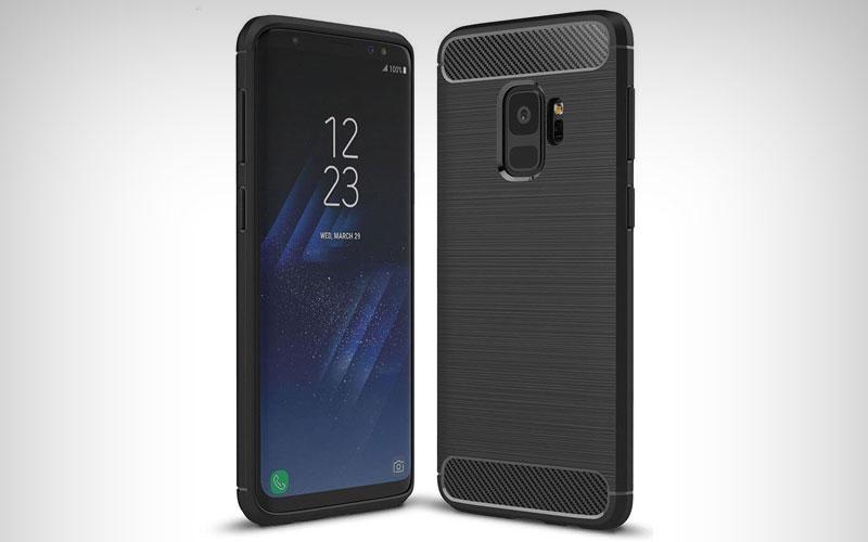 Geborsteld TPU hoesje zwart voor de Samsung Galaxy S9