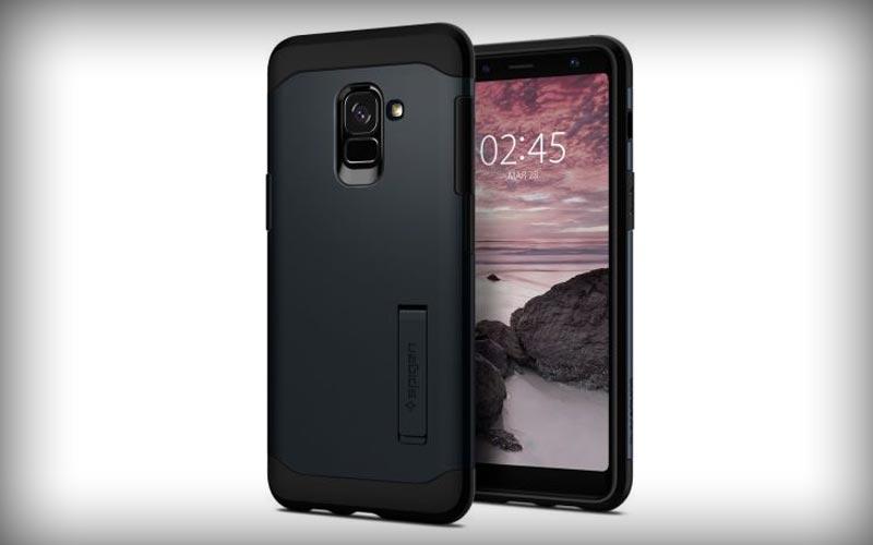 Spigen Slim Armor Hoesje Samsung Galaxy A8 2018 Metal Slate