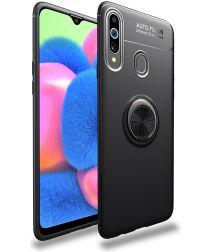 Samsung Galaxy A20s Hoesje met Magnetische Ring Kickstand Zwart
