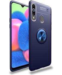 Samsung Galaxy A20s Hoesje met Magnetische Ring Kickstand Blauw