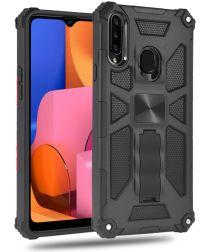 Samsung Galaxy A20s Hoesje Hybride met Metalen Kickstand Zwart