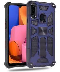 Samsung Galaxy A20s Hoesje Hybride met Metalen Kickstand Blauw