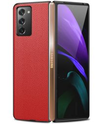 Samsung Galaxy Z Fold 2 Hoesje Litchi Skin Back Cover Rood