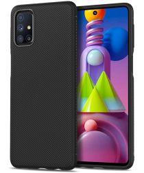 Samsung Galaxy M51 Hoesje Twill Textuur Back Cover Zwart