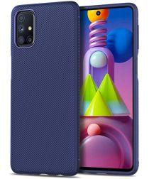 Samsung Galaxy M51 Hoesje Twill Textuur Back Cover Blauw