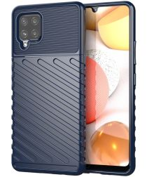 Samsung Galaxy A42 Twill Thunder Texture Back Cover Donker Blauw