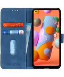 Samsung Galaxy A12 Vintage Book Case Hoesje Wallet Blauw