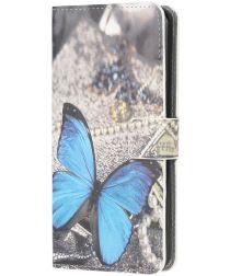Samsung Galaxy A12 Portemonnee Hoesje Vlinder Blauw Print