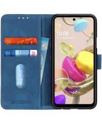 LG K42 Vintage Book Case Hoesje Wallet Blauw