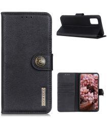 LG K42 Hoesje Retro Wallet Book Case Zwart