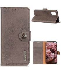 LG K42 Hoesje Retro Wallet Book Grijs