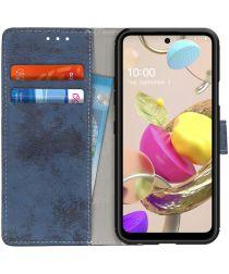 LG K42 Retro Portemonnee Hoesje Blauw