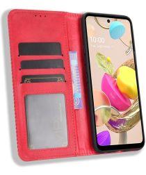 LG K42 Hoesje Retro Portemonnee Book Case Rood