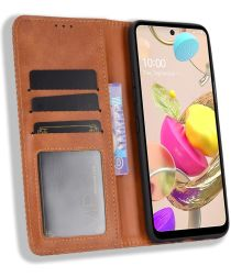 LG K42 Hoesje Retro Portemonnee Book Case Bruin
