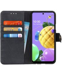 LG K52 Hoesje Retro Wallet Book Case Zwart