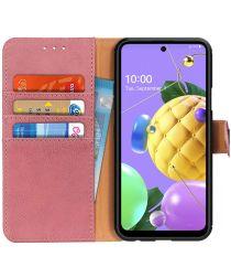 LG K52 Hoesje Retro Wallet Book Case Roze