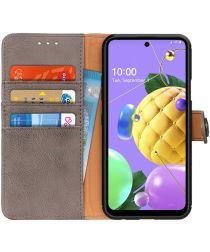 LG K52 Hoesje Retro Wallet Book Case Grijs
