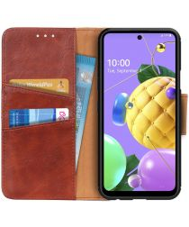 LG K52 / Q52 / K62 Hoesje Portemonnee Splitleer Book Case Bruin