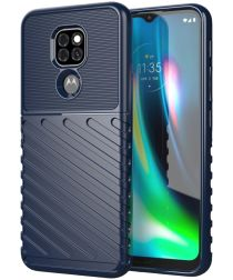 Motorola Moto G9 Play / E7 Plus Hoesje Twill Thunder Back Cover Blauw