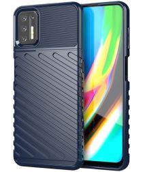 Motorola Moto G9 Plus Hoesje TPU Thunder Design Blauw