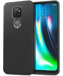 Motorola Moto G9 Play / Moto E7 Plus Hoesje Twill Slim Textuur Zwart