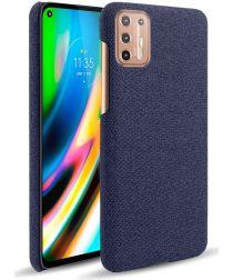 Motorola Moto G9 Plus Stof Hard Back Cover Blauw