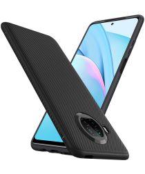 Xiaomi Mi 10T Lite Hoesje Twill Slim Textuur Back Cover Zwart