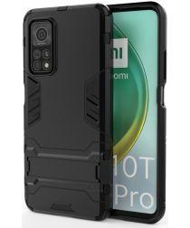 Xiaomi Mi 10T / Mi 10Pro Shockproof Backcover Met Kickstand Zwart