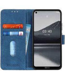 Nokia 3.4 Vintage Book Case Hoesje Wallet Blauw