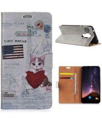 Nokia 3.4 Wallet Case Met Cat Holding Heart Print