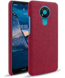 Nokia 3.4 Stof Textuur Back Cover Rood