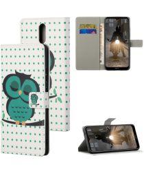 Nokia 2.4 Book Case Hoesje Wallet Met Uilen Print