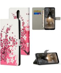 Nokia 2.4 Book Case Hoesje Wallet Met Blossom Print