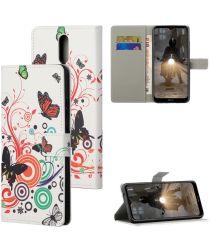 Nokia 2.4 Book Case Hoesje Wallet Met Vlinders Print