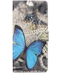 Nokia 3.4 Hoesje Portemonnee Book Case met Blauwe Vlinder Print