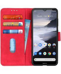 Nokia 2.4 Hoesje Retro Wallet Book Case Rood