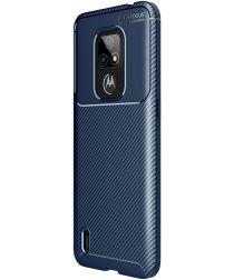 Motorola Moto E7 Siliconen Carbon Hoesje Blauw