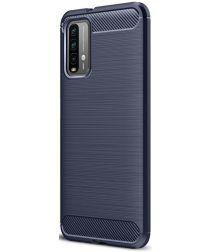 Xiaomi Poco M3 Hoesje Geborsteld TPU Flexibele Back Cover Blauw