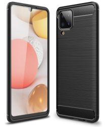 Samsung Galaxy A12 Hoesje Geborsteld TPU Flexibele Back Cover Zwart