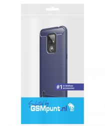 Motorola Moto E7 Hoesje Geborsteld TPU Flexibele Back Cover Blauw