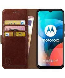 Rosso Element Motorola Moto E7 Hoesje Book Cover Bruin