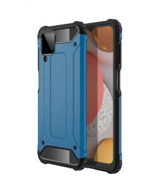 Samsung Galaxy A12 Hoesje Hybride Shock Proof Back Cover Blauw