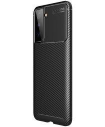 Samsung Galaxy S21 Plus Hoesje Siliconen Carbon TPU Back Cover Zwart