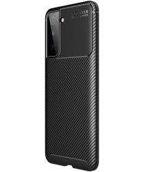 Samsung Galaxy S21 Hoesje Siliconen Carbon TPU Back Cover Zwart