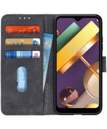 LG K22 Hoesje Retro Wallet Book Case Zwart