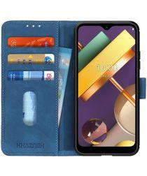 LG K22 Hoesje Retro Wallet Book Case Blauw