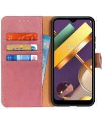 LG K22 Hoesje Portemonnee met Drukknoop Sluiting Roze