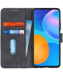 Huawei P Smart 2021 Hoesje Retro Wallet Book Case Zwart